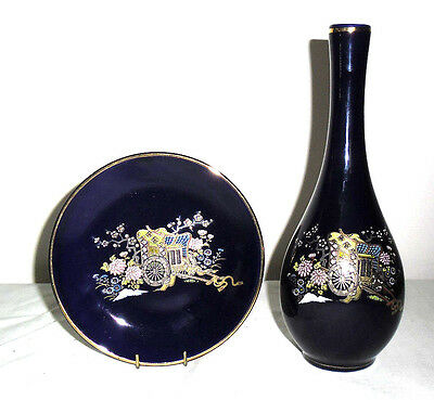 Vintage Cobalt Blue Vase &  Plate :  Flower Wagon Design : Japan
