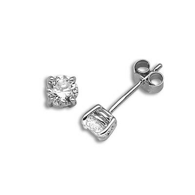 Ladies Solid 18ct White Gold 4 Claw Round 1ct Diamond Solitaire Stud Earrings