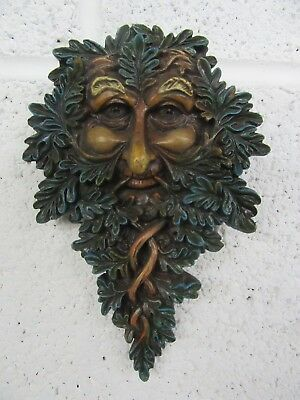 Green Man Wall Plaque - Highly Detailed - Green Wall Garden Wall Art - New