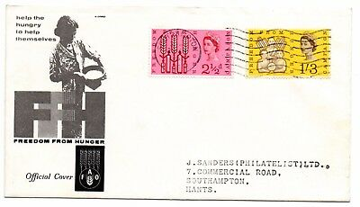 GB 1963 Freedom From Hunger phosphor FDC Southampton wavy line postmark VGC