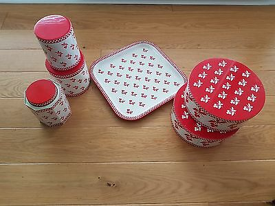 5 vintage white & red cherry Habitat tin containers & matching square tray
