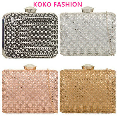 Silver Black Gold Crystal Party Diamante Hard Case Evening Clutch Box Bags TL861