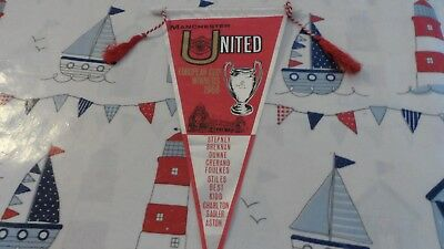 1968 Manchester United  Fc - European Cup Winners - Football Pennant