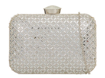 Silver Crystal Party Diamante Hard Case Evening Clutch Box Bags TL861- 3 colours