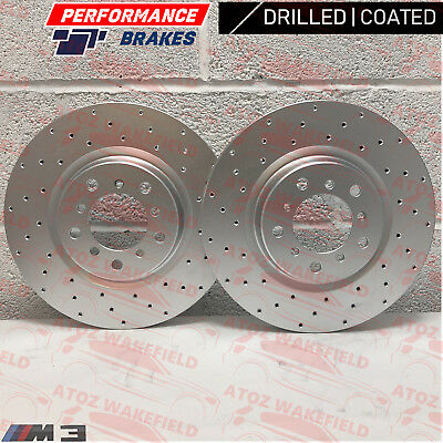 FOR BMW 1 3 4 SERIES M SPORT REAR DRILLED GROOVED PERFORMANCE BRAKE DISCS 300mm