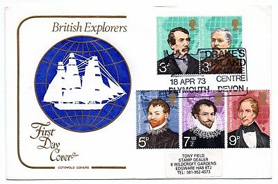 GB 1973 British Explorers official FDC Drake's Island special handstamp Cotswold