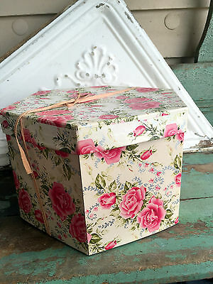 Vintage Cardboard Style Hat Box Pink Shabby Roses Flowers