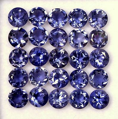 10.40 Cts Natural Iolite Round Cut 5 mm Lot 25 Pcs Lustrous Loose Gemstones