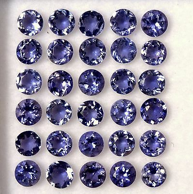 6.74 Cts Natural Iolite Round Cut 4 mm Lot 30 Pcs Lustrous Loose Gemstones