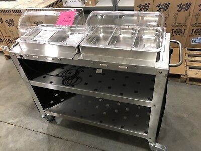 Cadco CBC-5RT Grand Buffet Warming Cart with Clear Roll Top Lids