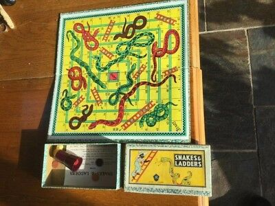 Snakes and ladders board game circa 1930 made in England by HPG