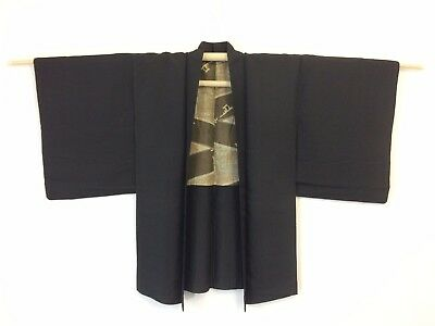Authentic Japanese black silk haori jacket for kimono, M, Japan import (AD1763)