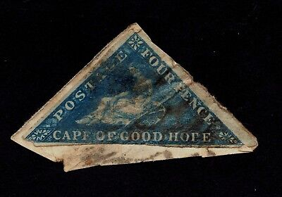 1853 Cape of Good Hope - 4 Pence, Triangle, Blue - On piece.
