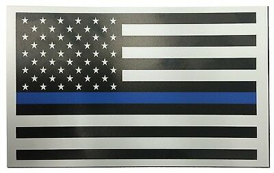 Thin Blue Line American Vinyl Flag Rectangle 3x5 Inch Police Car Magnet