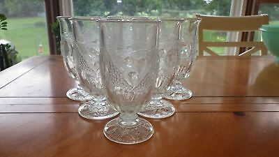 Westmoreland Della Robbia Clear Ice Tea Glasses Footed Tumblers 6 11Oz Stem 1058