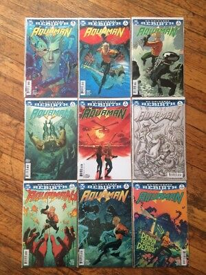 Aquaman 1 - 9 Rebirth Variant Cover B Set NM DC Comics