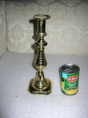"""Tall 19Th Century Brass  Beehive Push Up  Beehive Candlestick 12"""""""
