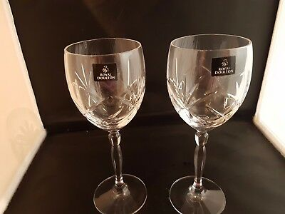 Royal Doulton ' Daily Mail' Crystal Water Goblets X 2