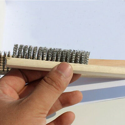 """NEW 3Pcs Set 10"""" Stainless Steel Wire Brushes With Wood Handle"""