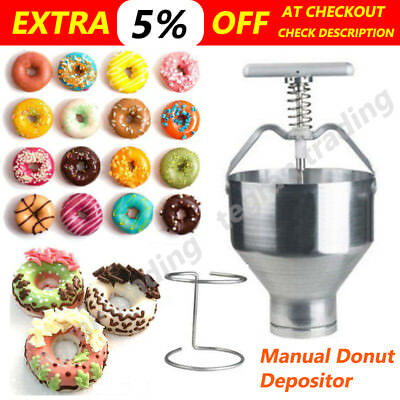 AU Manual Donut Depositor Dropper Plunger Dough Batter Dispenser Hopper Maker