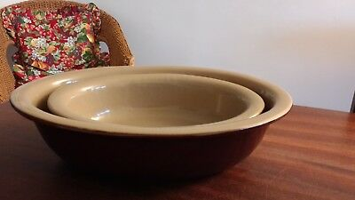 Pearsons of Chesterfield 2 Large Oval Pie/Baking Dishes. Perfect/Unused. Vintage