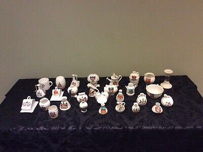 24 Pieces Of Crested Ware, Goss, Fenton, Arcadian, Tudor, Foley & Others
