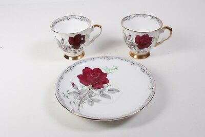Royal Stafford roses to remember saucer and 2 small cups