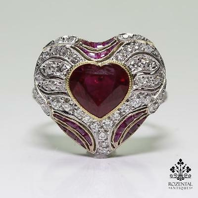 Antique Edwardian Platinum 2.85ct. Ruby & Diamond Ring