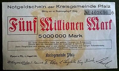 Kreisgemeinde Pfalz (Speyer) 5 Million Mark  KN schwarz 11.8.1923