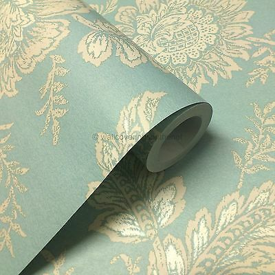 Cabaletta duck egg floral design, Paste the Wall, Wallpaper + £7.99 inc P&P +