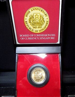 1975 Singapore $100 Gold Coin ✪ 10Th Anniversary ✪ 1965 Original Box ◢Trusted◣