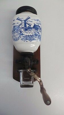 Wall mounted coffee grinder dutch windmill blue & white pottery & cast iron