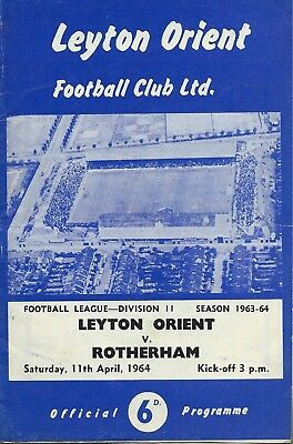 Leyton Orient v Rotherham April 1964 Official Programme