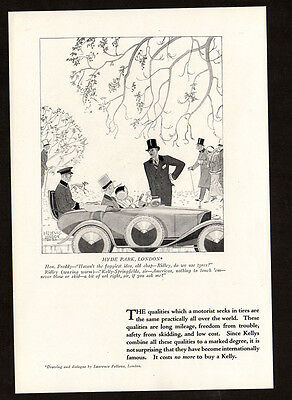 1923 KELLY Springfield Tires vintage Print AD - Hyde Park, Laurence Fellows art