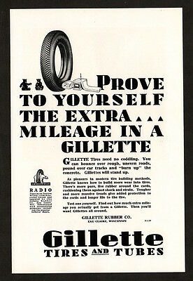1929 GILLETTE Tires and Tubes vintage Original Print AD - Prove to yourself