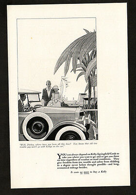 1924 KELLY Springfield Cord Tires vintage Original Print AD - Car, L Fellows art