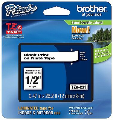 "Brother P-touch TZE231 1/2"" Black on White Standard Laminated Tape- (3) pack"