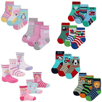 Baby Boys Girls Pack Of 3 Socks Fun Colourful 0-18 Months Princess Fairy Trucks