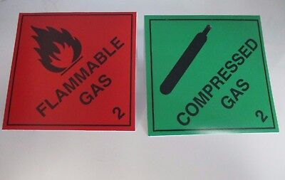 Pair of 100 mm Self Adhesive Gas Signs - Red ~ Flammable; Green ~ Compressed