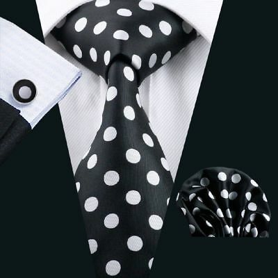 BNWT Mens Black White Polka Dot Silk Tie Hanky Handkerchief Cufflinks GIFT SET