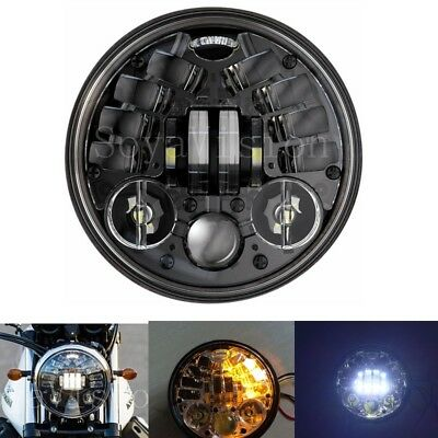 """5 3/4"""" Round LED Headlight With Amber Turn signal For Harley Motorcycle 5.75"""""""