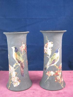 Matching Pair of Bretby Art Pottery  Trumpet Vases Birds , Floral on Matt Black
