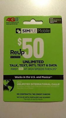 SIMPLE Mobile $50 Monthly Unlimited Plan Refill Card + SIM Kit Free Shipping