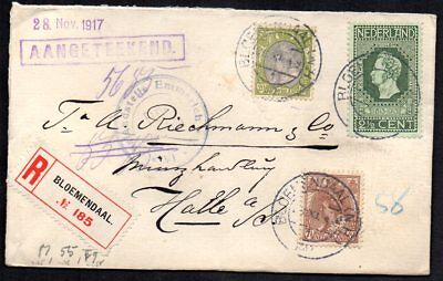 Netherlands - 1917 Registered Cover to Halle, Germany, Wax Seals Intact