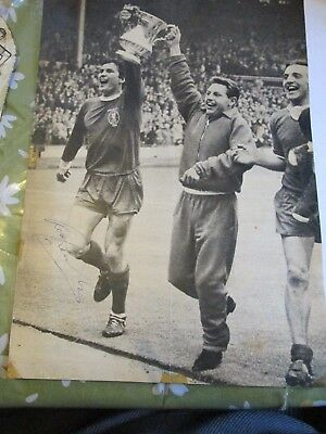 Ron Yeats hand signed b&w picture Liverpool with FA Cup