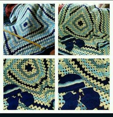 Crocheted large toddler blanket include beanie and two booties