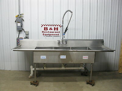 "100"" Universal Stainless Steel Three Bowl 3 Compartment Heavy Duty Sink 8' 4"""