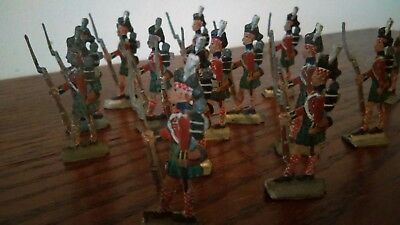 Set of 20 Antique Hand Painted Lead Tin Toy Soldiers, Zinnfiguren, Scottish Army