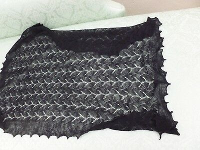 """Vintage  Hand-Framed Wool Knitted Black Lace Scarf Stole Wrap  43"""" X 28"""""""