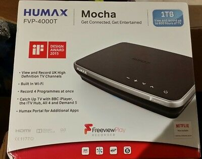 HUMAX FVP-4000T Freeview Play HD Recorder Built In WiFi 1TB Mucha